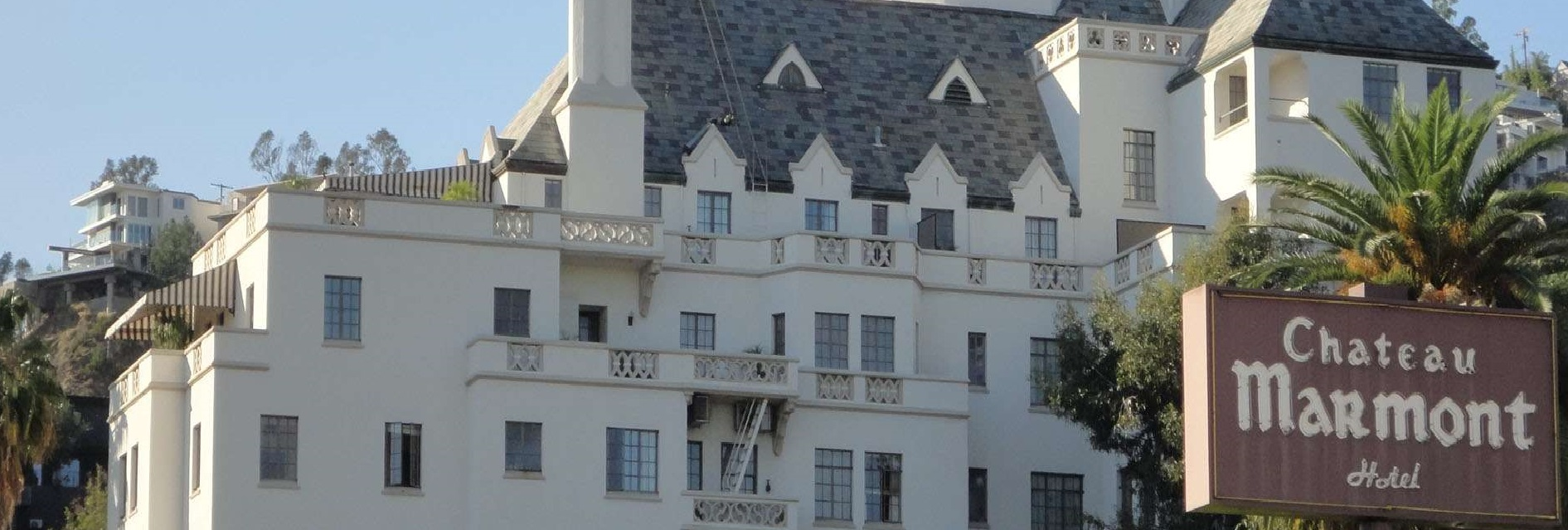 An outside shot of the Chateau Marmont