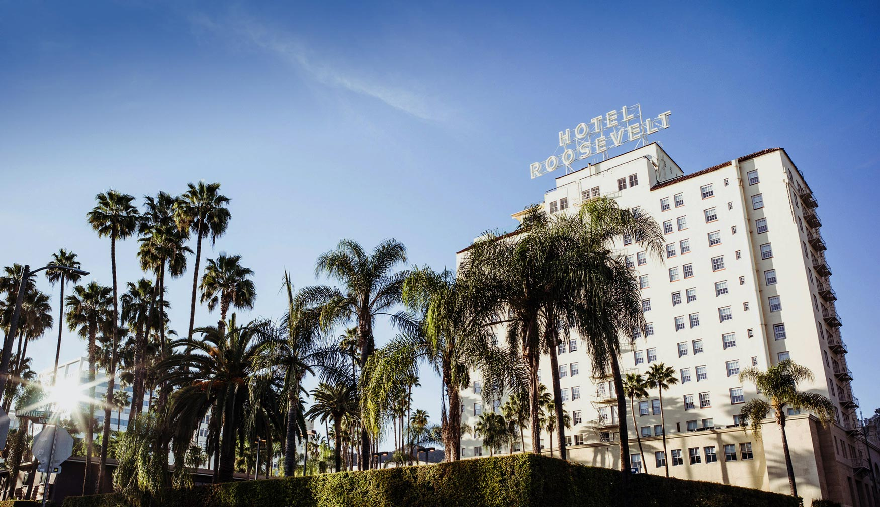 An exterior shot of the Hollywood Roosevelt