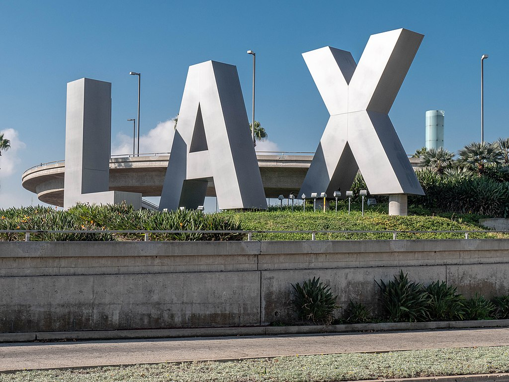 The famous LAX letters displayed in front of the airport