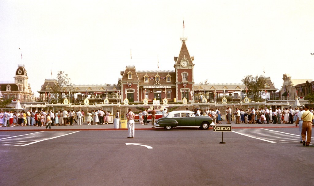 The History of Disneyland: This is a rare color image of opening day taken outside the Main Entrance of Disneyland on July 17, 1955. (Disneyland Resort)