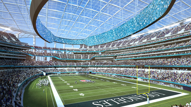 A rendering of SoFi Stadium, a future arena in Los Angeles