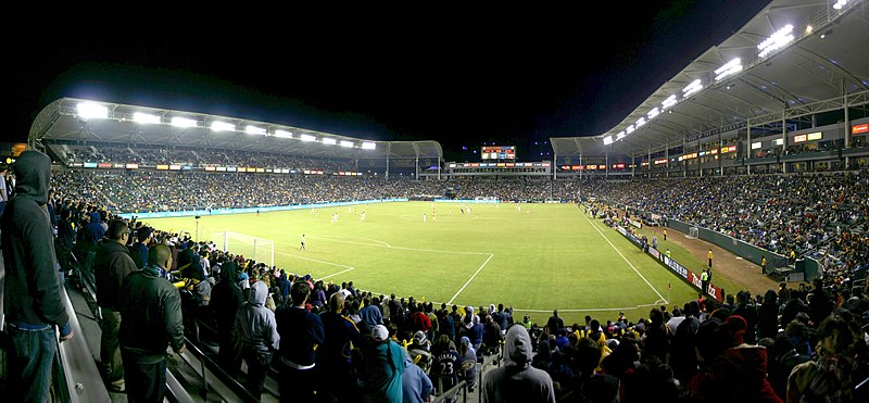 A soccer game being played at night at Dignity Health Sports Park, An Arena in Los Angeles