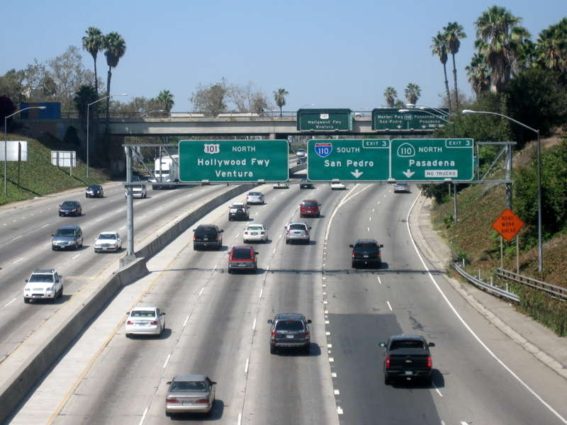 A photo of traffic on the 101 North Highway in LA